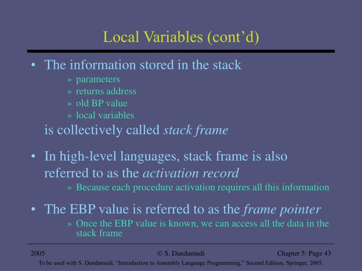 Local Variables (cont'd)
