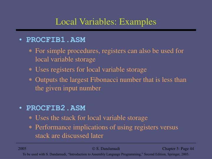 Local Variables: Examples