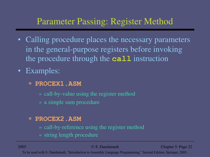 Parameter Passing: Register Method