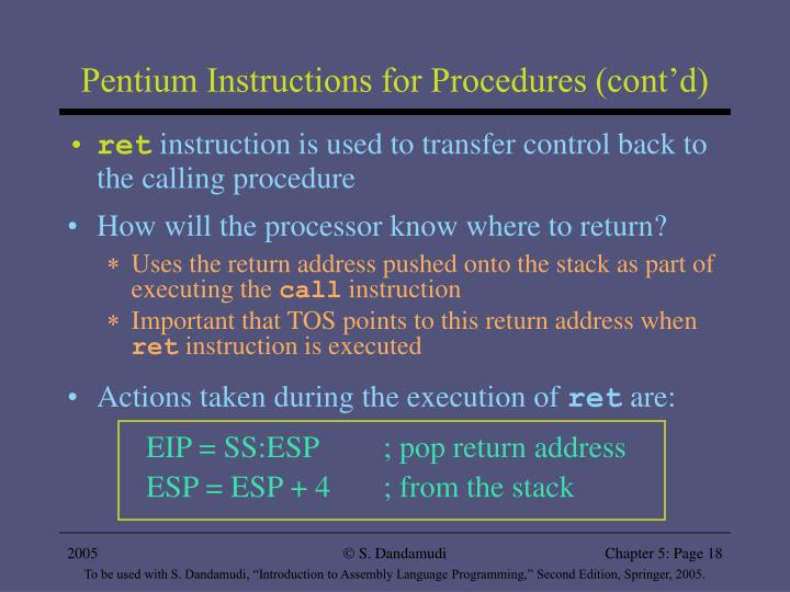 Pentium Instructions for Procedures (cont'd)