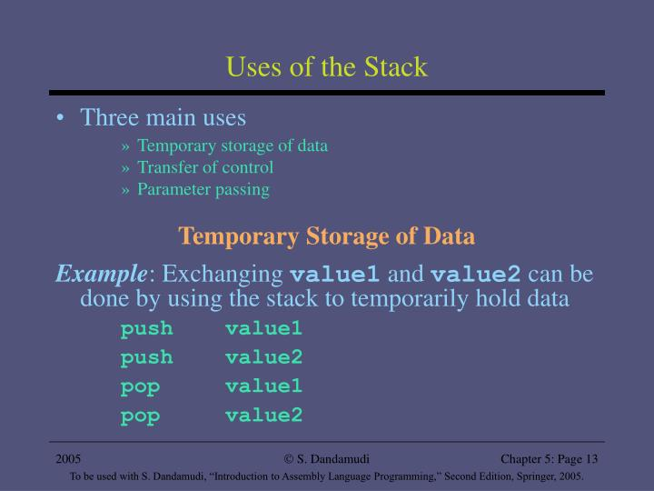 Uses of the Stack