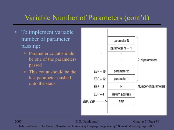 Variable Number of Parameters (cont'd)