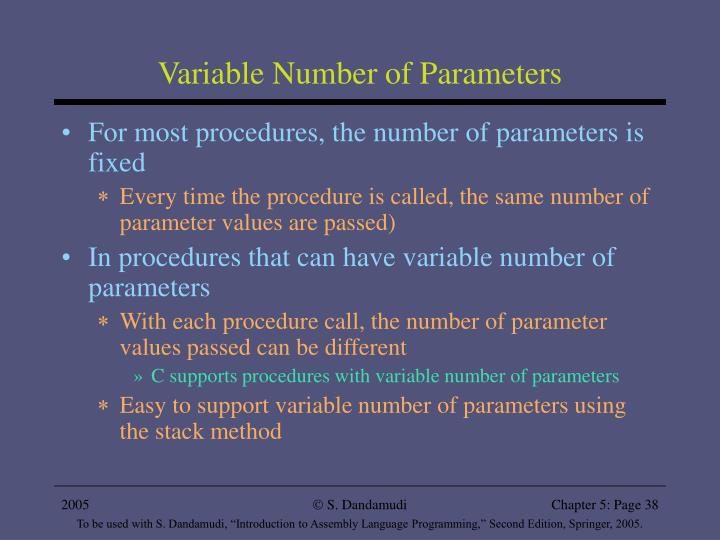 Variable Number of Parameters