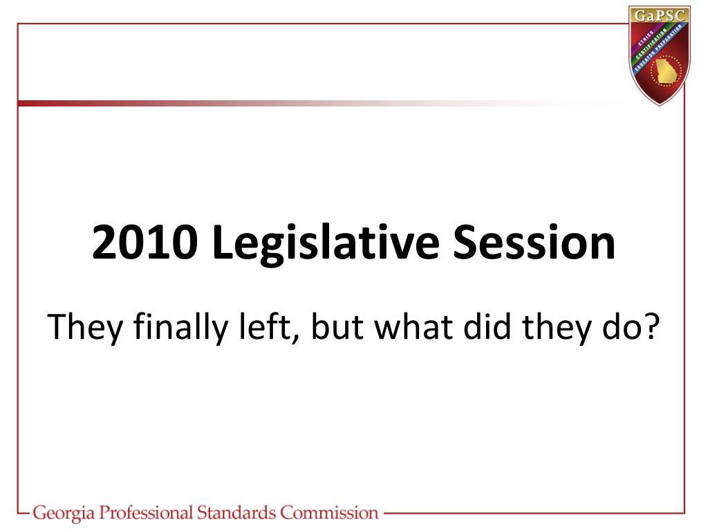2010 Legislative Session