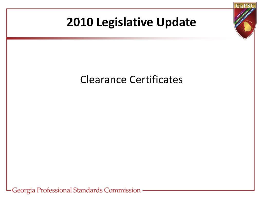 2010 Legislative Update
