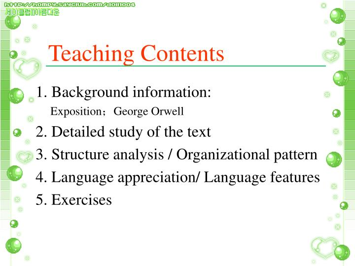 Teaching contents