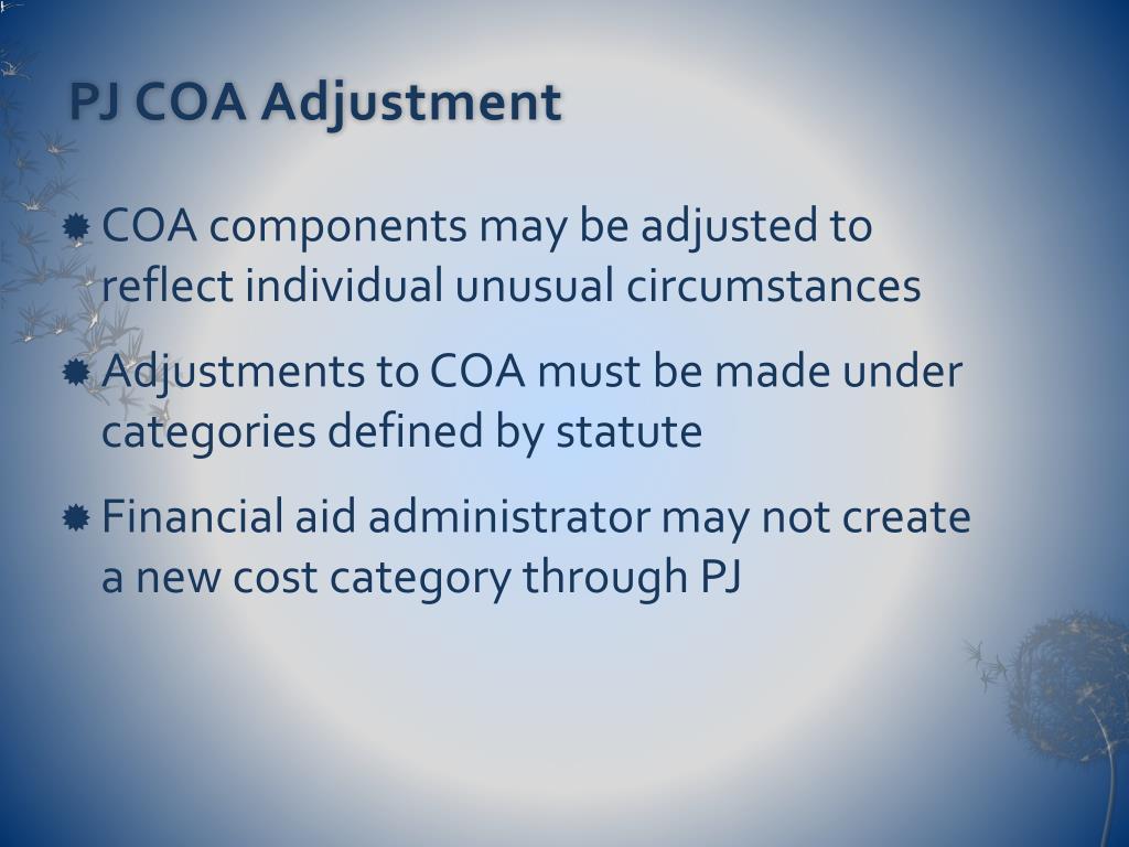 PJ COA Adjustment