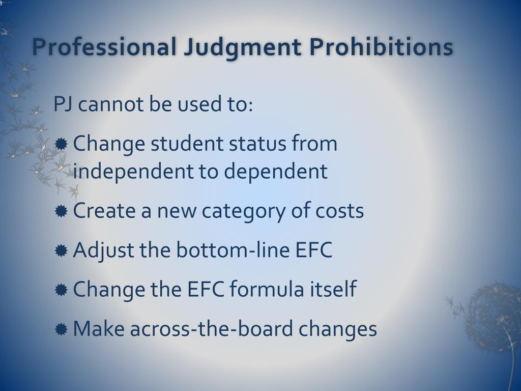 Professional Judgment Prohibitions