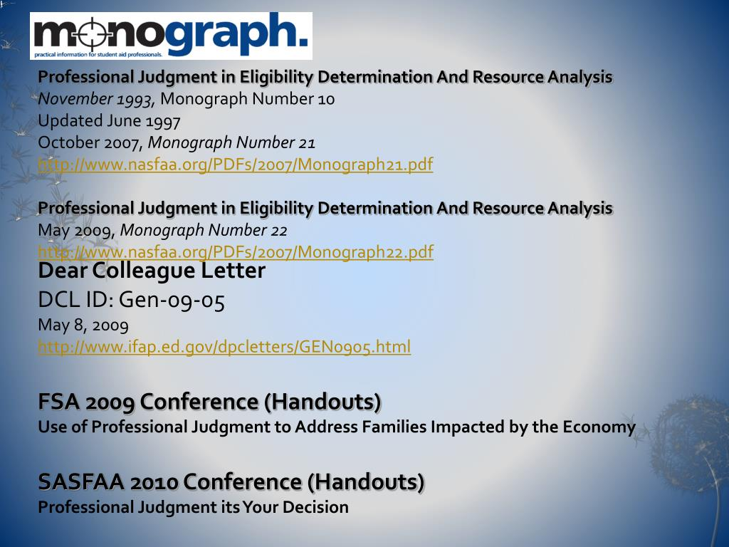 Professional Judgment in Eligibility Determination And Resource Analysis