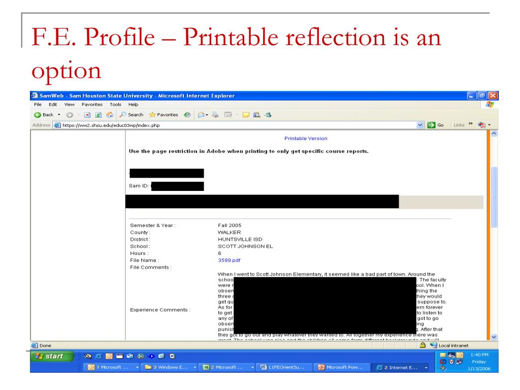 F.E. Profile – Printable reflection is an option