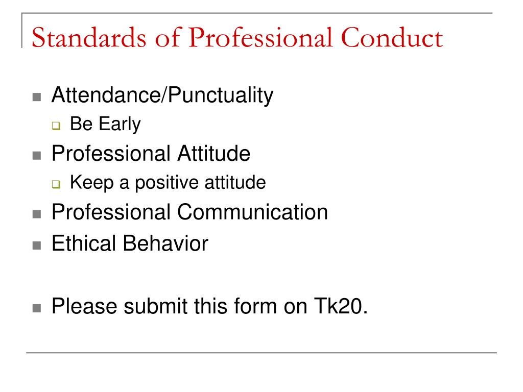 Standards of Professional Conduct