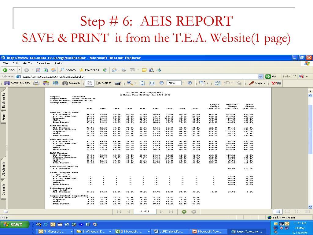 Step # 6:  AEIS REPORT