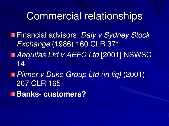 Commercial relationships
