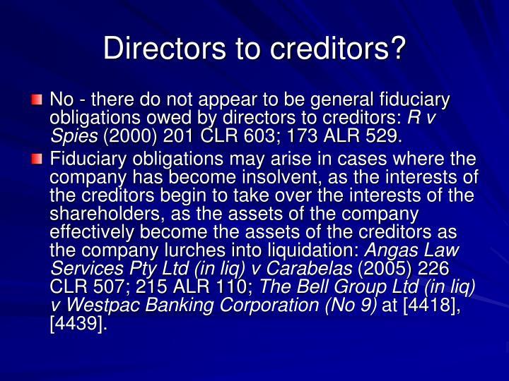 Directors to creditors?