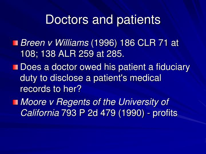 Doctors and patients