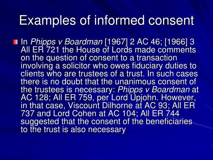 Examples of informed consent