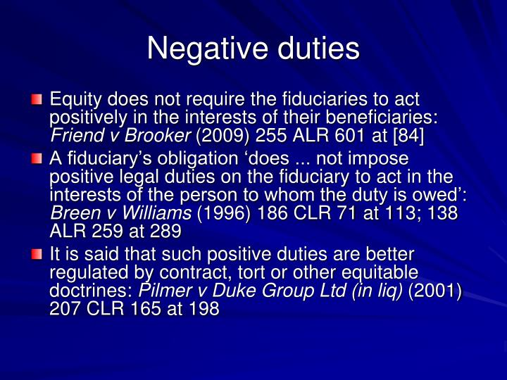 Negative duties