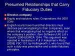 presumed relationships that carry fiduciary duties1