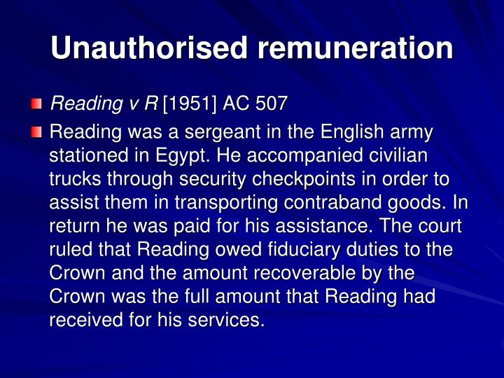 Unauthorised remuneration