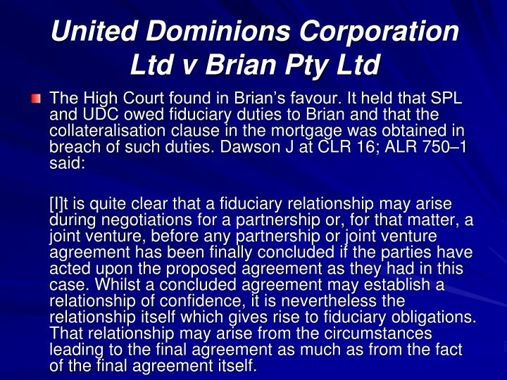 United Dominions Corporation Ltd v Brian Pty Ltd