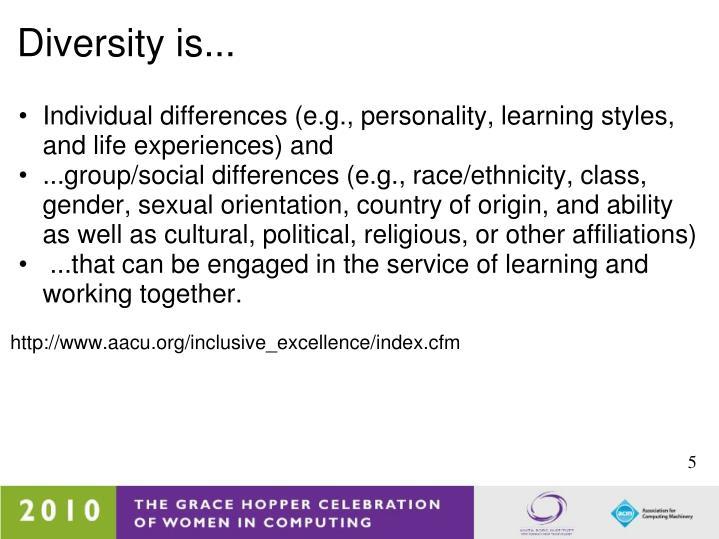 Diversity is...