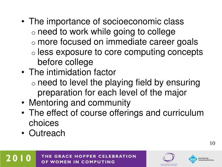 The importance of socioeconomic class