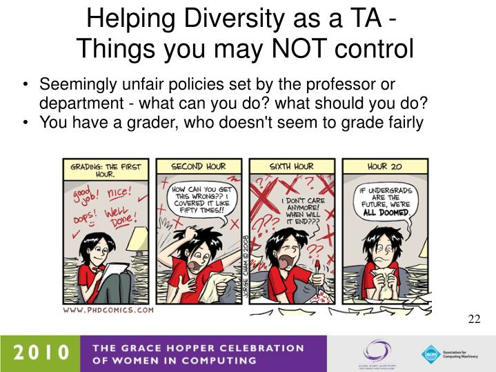 Helping Diversity as a TA -