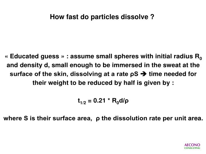How fast do particles dissolve ?