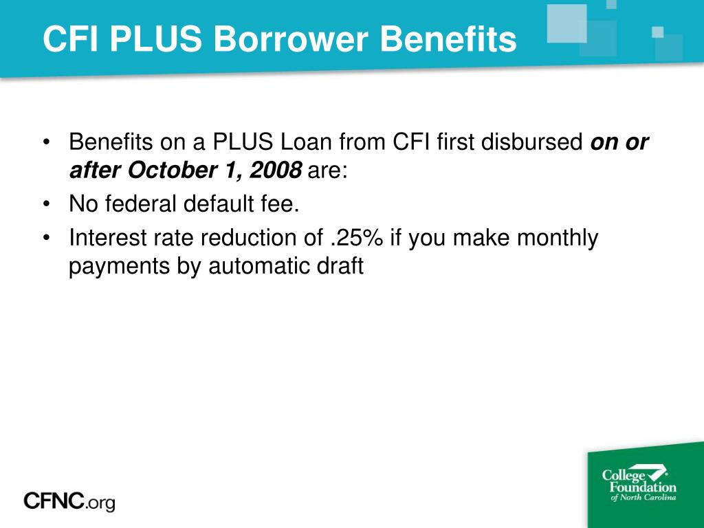 CFI PLUS Borrower Benefits