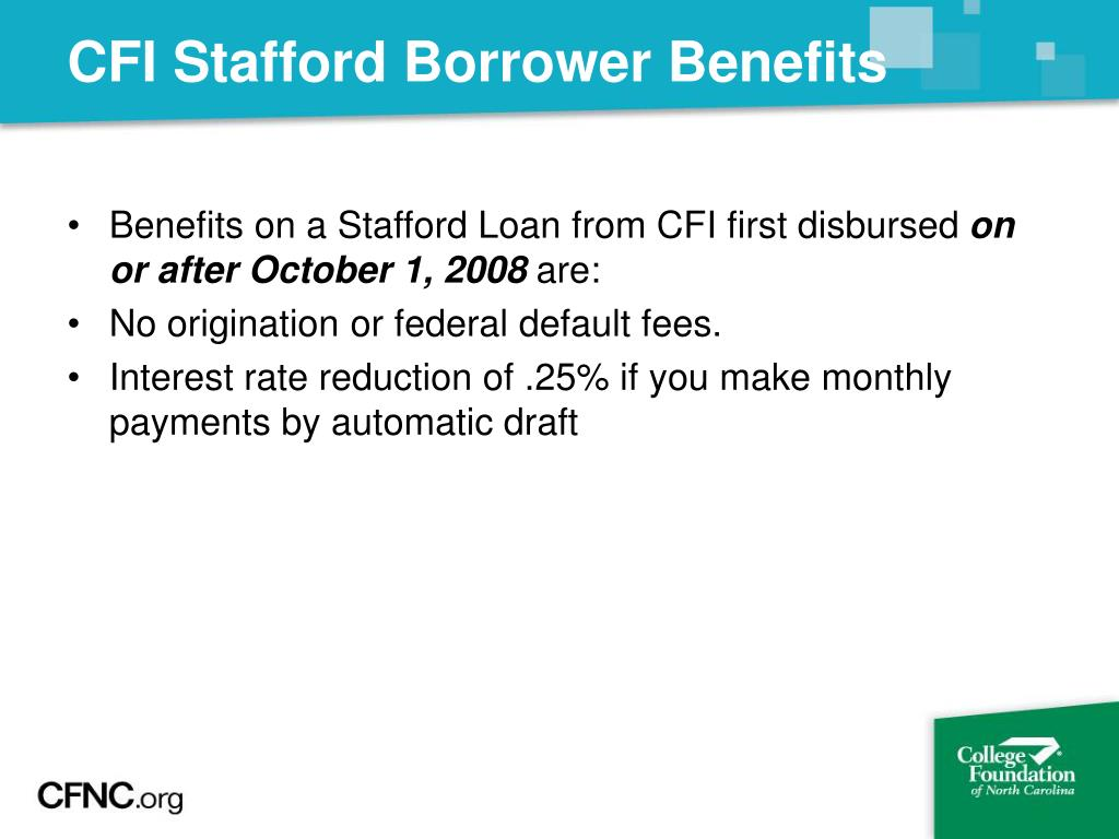 CFI Stafford Borrower Benefits