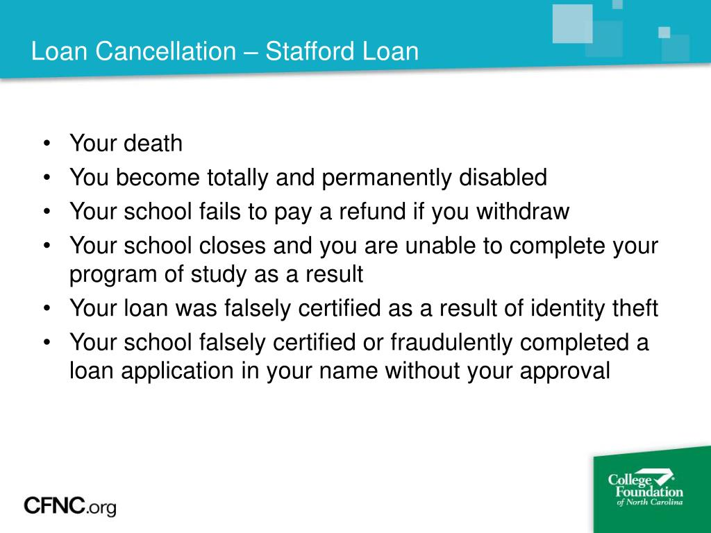 Loan Cancellation – Stafford Loan