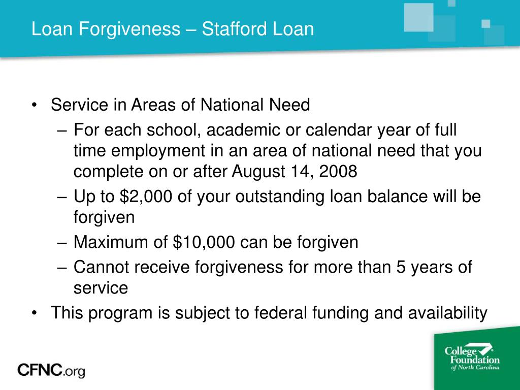 Loan Forgiveness – Stafford Loan