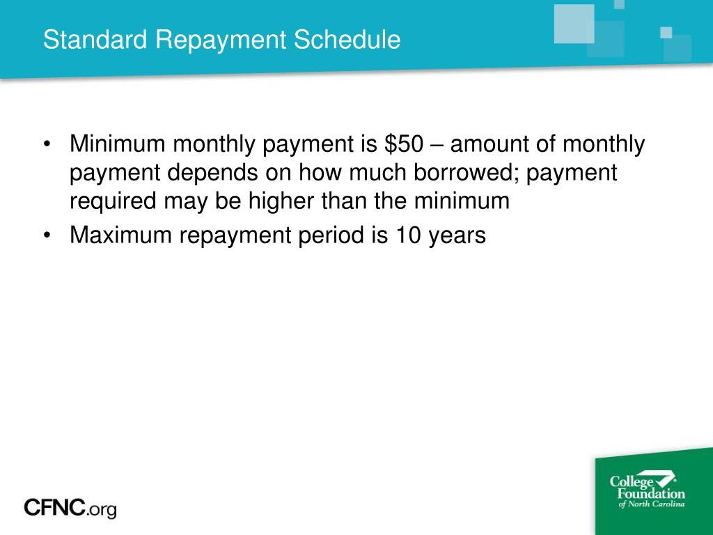 Standard Repayment Schedule