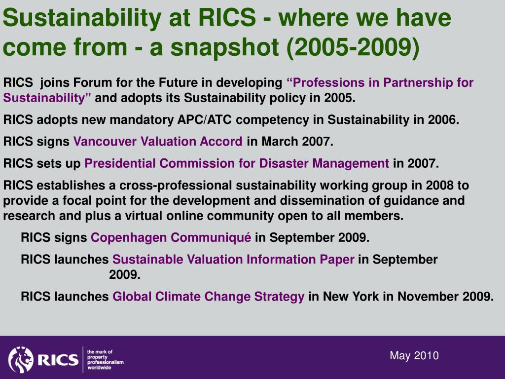 Sustainability at RICS - where we have come from - a snapshot (2005-2009)