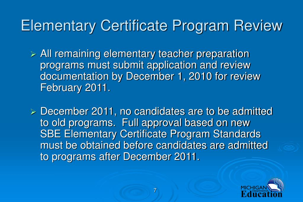 Elementary Certificate Program Review