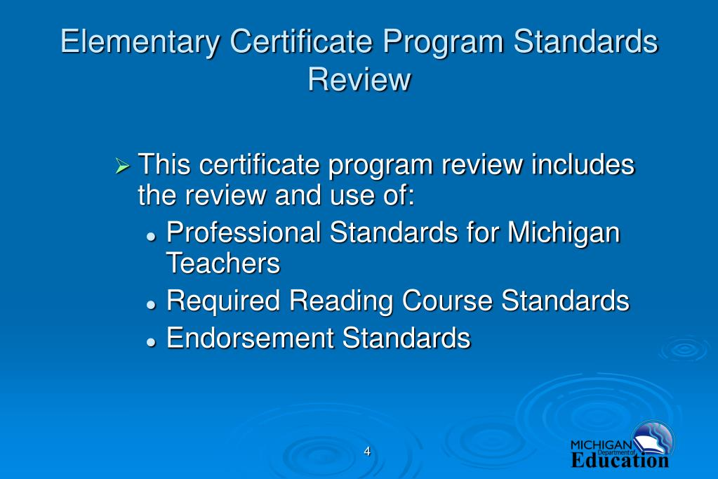 Elementary Certificate Program Standards Review