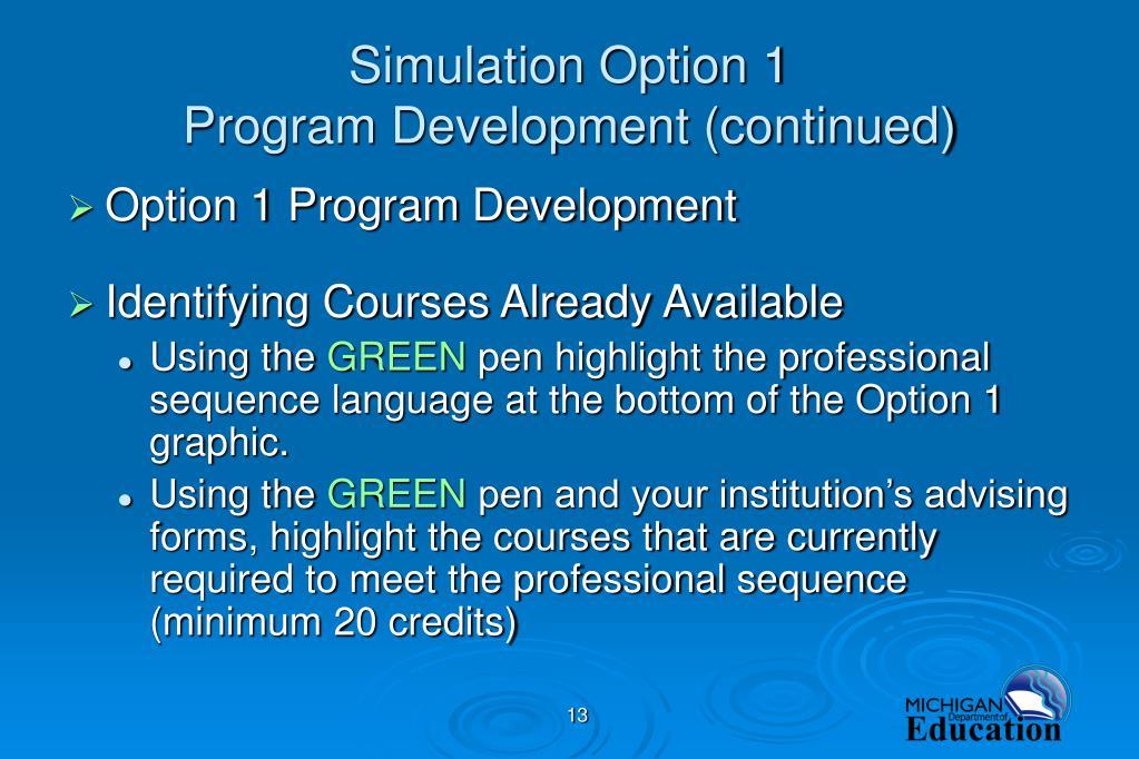 Simulation Option 1