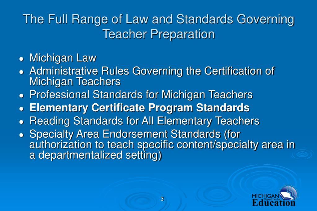 The Full Range of Law and Standards Governing  Teacher Preparation