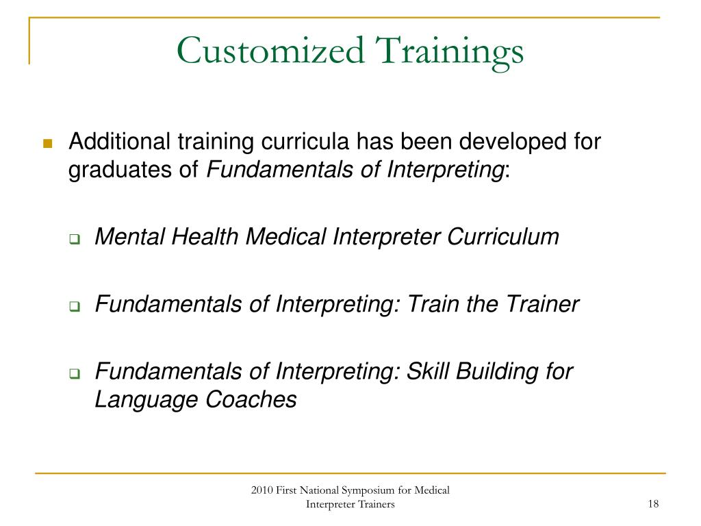 Customized Trainings