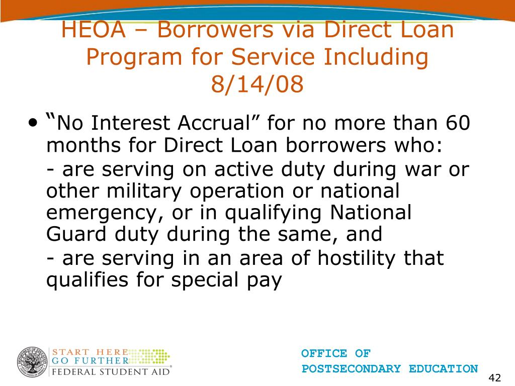 HEOA – Borrowers via Direct Loan Program for Service Including 8/14/08