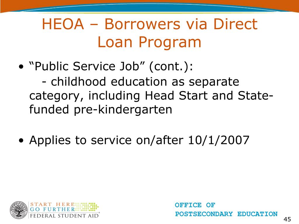 HEOA – Borrowers via Direct Loan Program