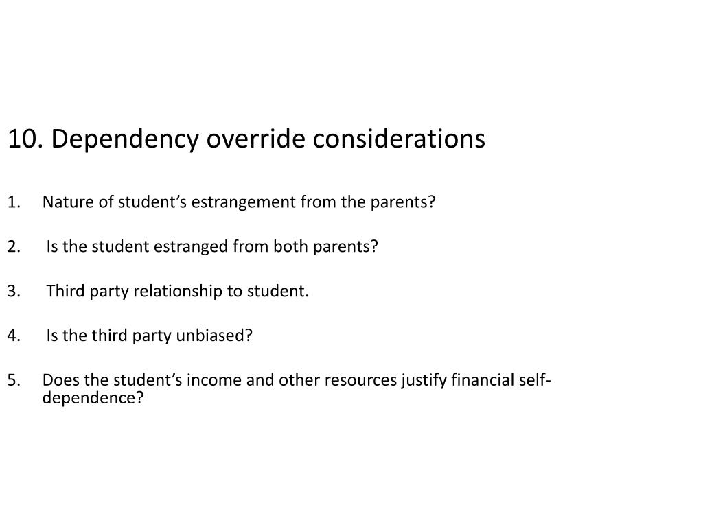 10. Dependency override considerations