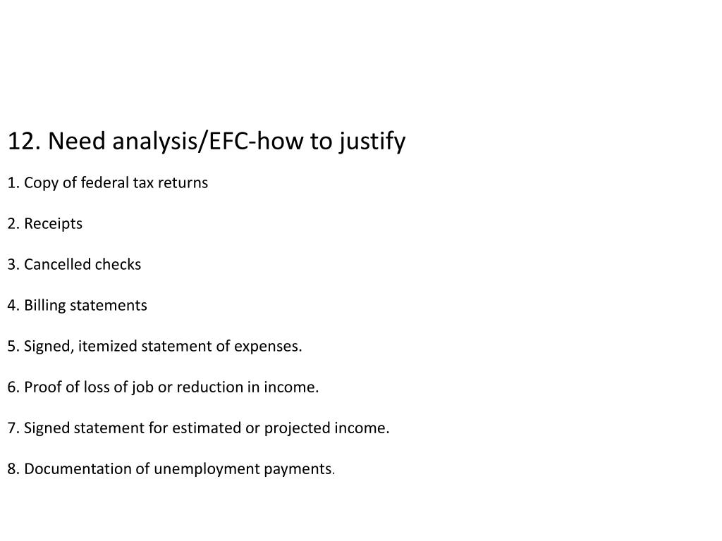 12. Need analysis/EFC-how to justify