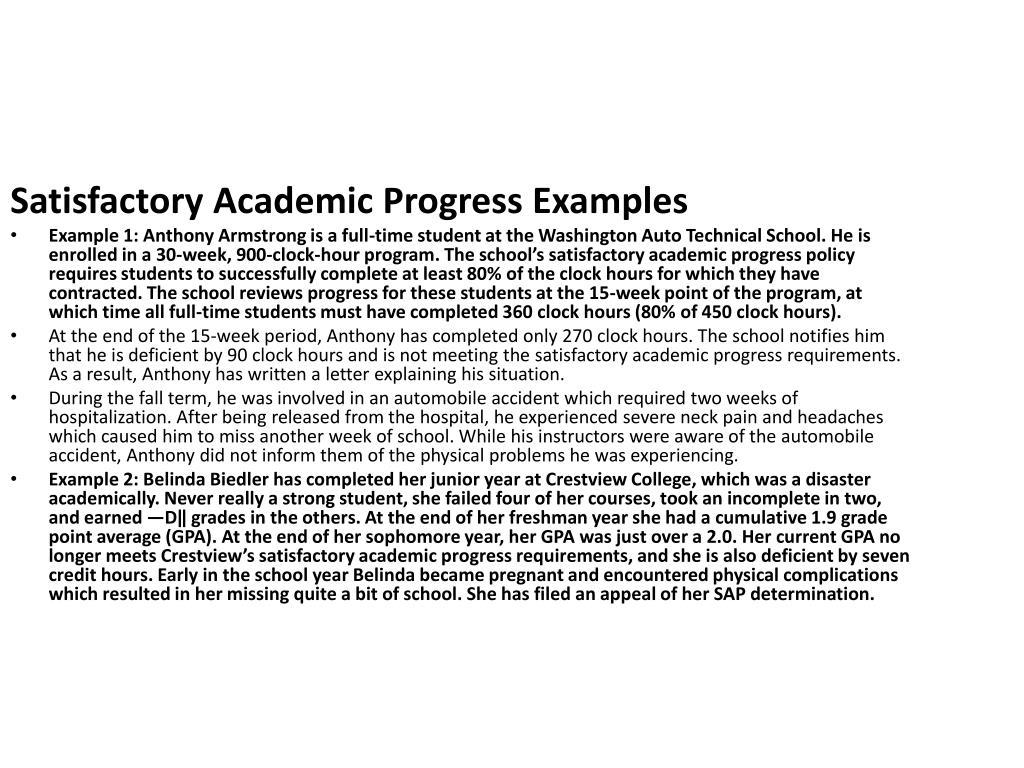 Satisfactory Academic Progress Examples