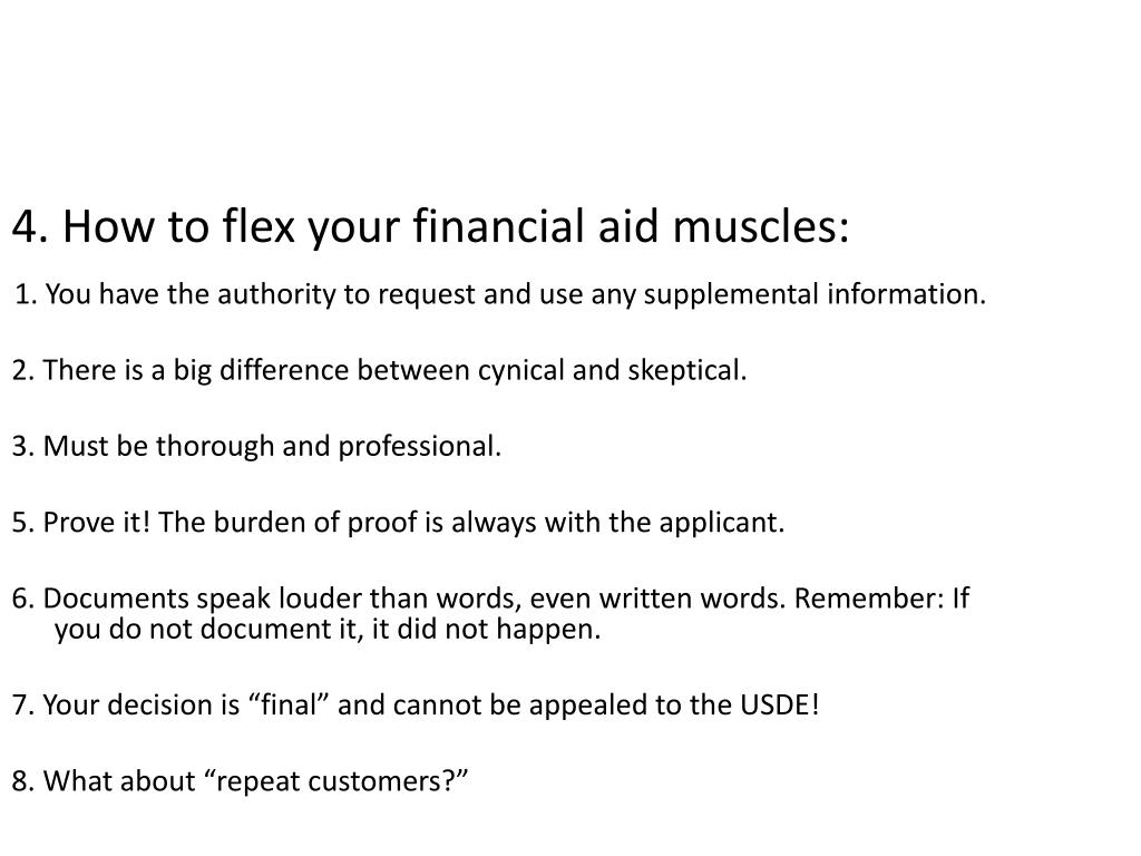 4. How to flex your financial aid muscles: