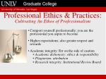 professional ethics practices cultivating an ethos of professionalism