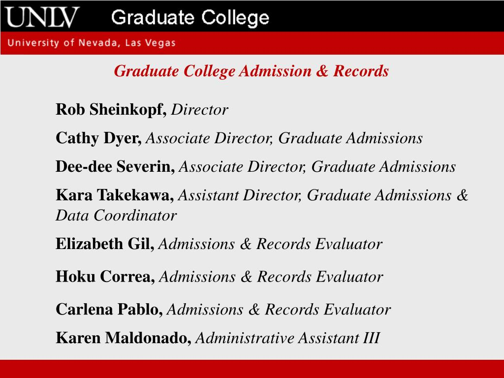 Graduate College Admission & Records