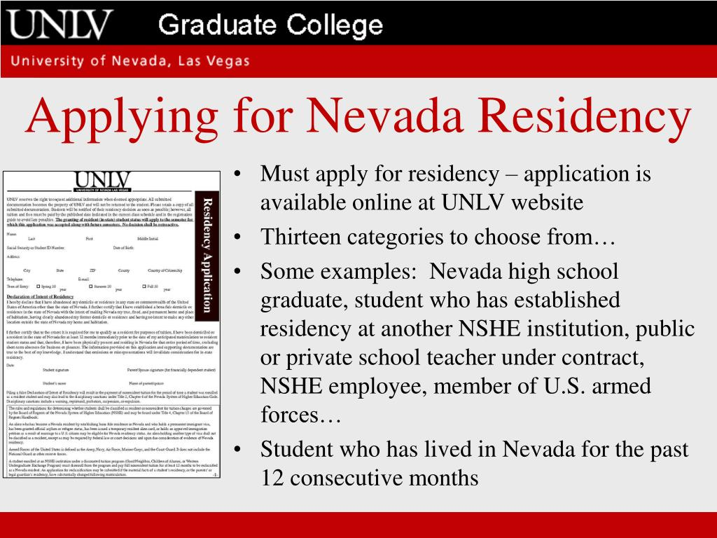 Applying for Nevada Residency