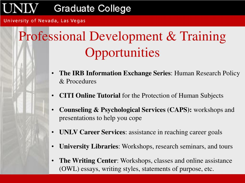 Professional Development & Training Opportunities