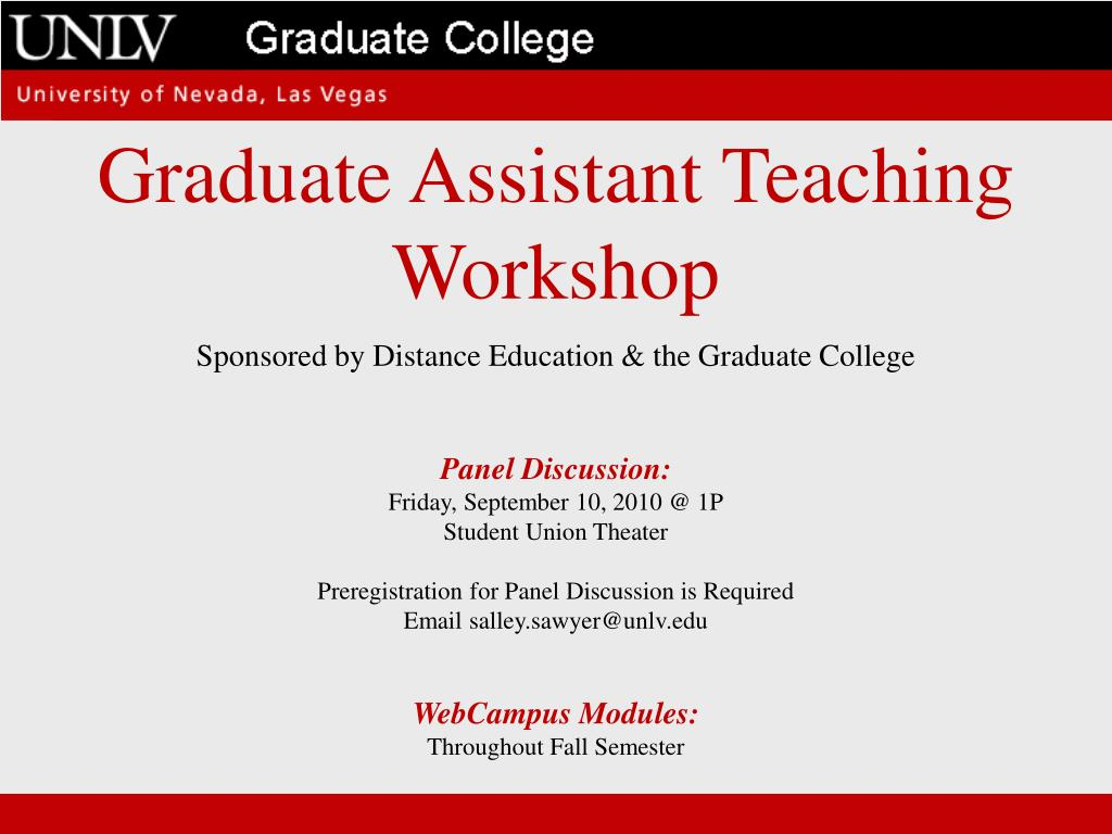 Graduate Assistant Teaching Workshop